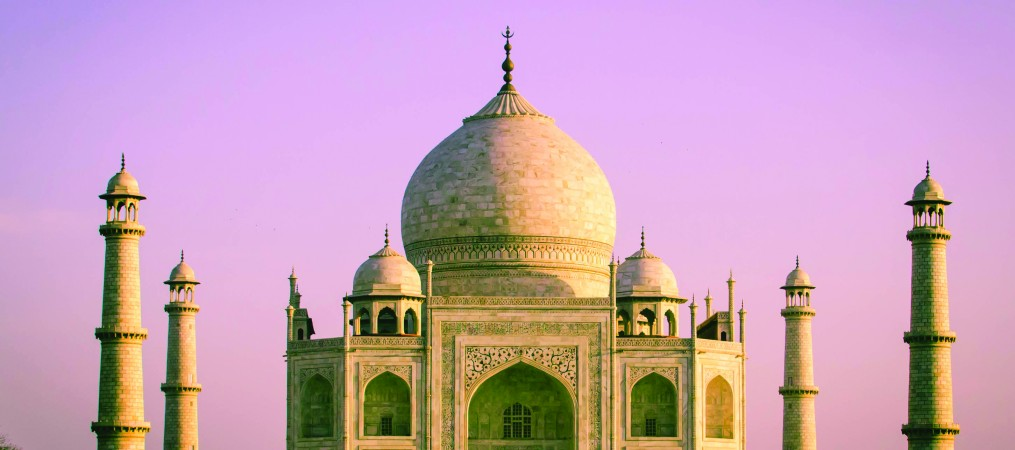A photograph of the Taj Mahal taken in Agra, India.