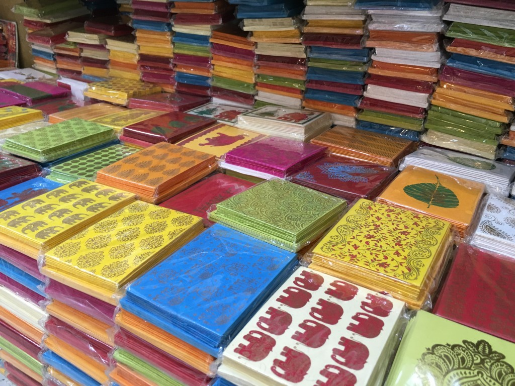 Hand made paper and cards for sale at Khan Market