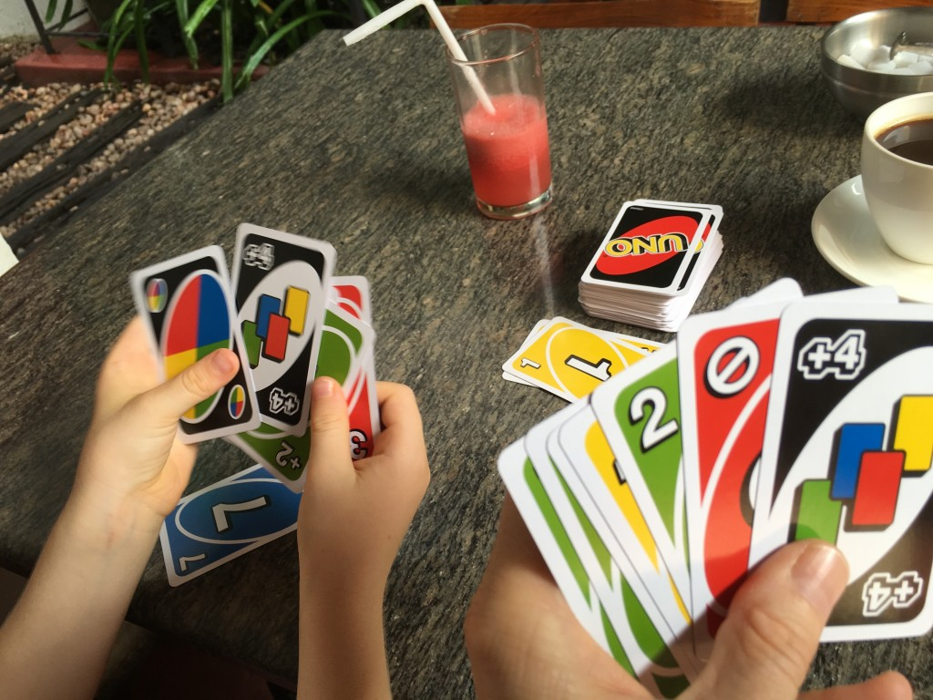 Uno is a great game for travelling - adults and kids love it!