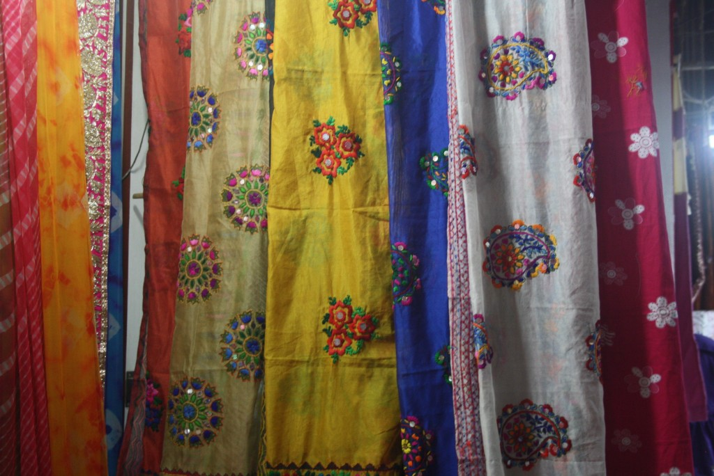 See all the beautiful fabrics and colours in Mangaldas Market
